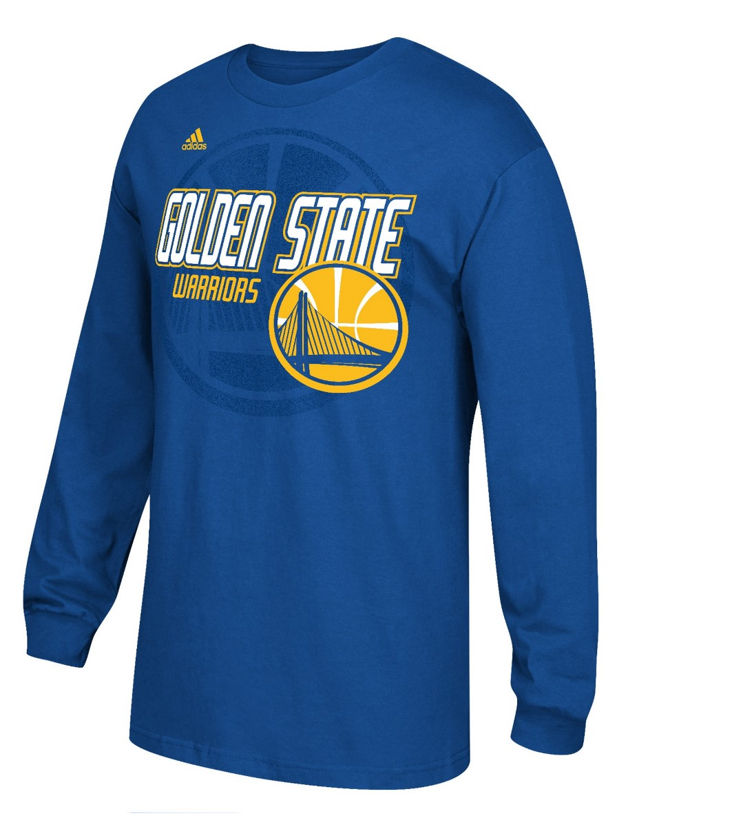 Golden State Warriors Adidas Distressed Back Logo Men's Long Sleeve Blue T-Shirt by Nba
