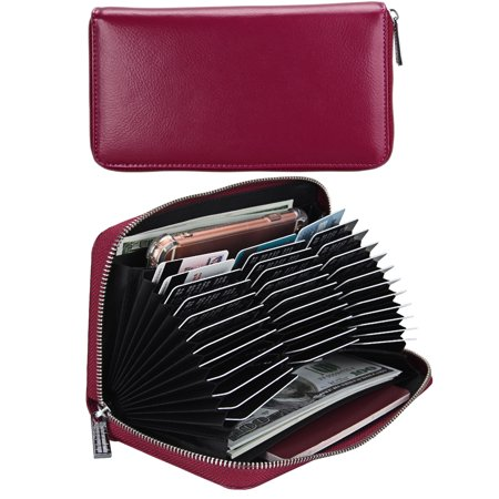 32d3cd2f4e96 Women's Large Capacity RFID Blocking Genuine Leather Ladies Purse Secure  Card Holder Zipper Clutch Wallet