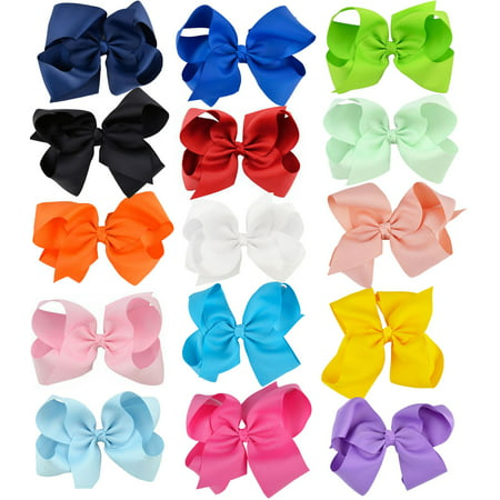 6'' Big Bows Hair Clips Cute Lovely Ribbon Bow Clip Hair Bow Set Multicolor Hair Accessories for Baby Girls Kids Child Teens, 15Pcs