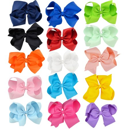 6'' Big Bows Hair Clips Cute Lovely Ribbon Bow Clip Hair Bow Set Multicolor Hair Accessories for Baby Girls Kids Child Teens, 15Pcs - Hair Accessories For Girls