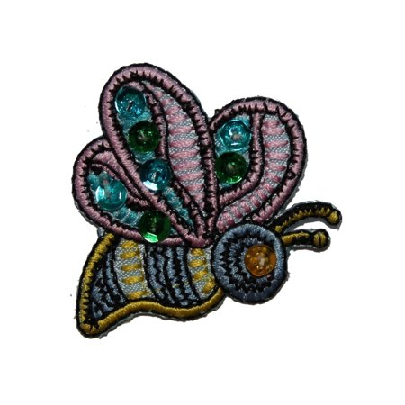ID 3592 Sequin Flying Bumble Bee Patch Insect Craft Embroidered Iron On Applique - Insect Crafts
