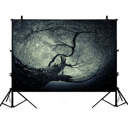 PHFZK 7x5ft Landscape Nature Scenery Backdrops, Tree Art with Stars Photography Backdrops Polyester Photo Background Studio Props