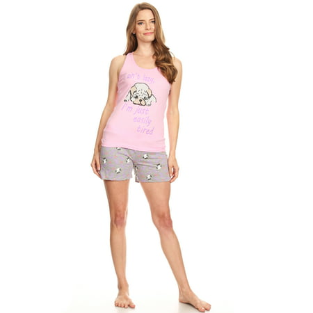 3460S Womens Shorts Set Sleepwear Pajamas Woman Sleeveless Sleep Nightshirt Pink XL Cotton Sleeveless Capri Pajama