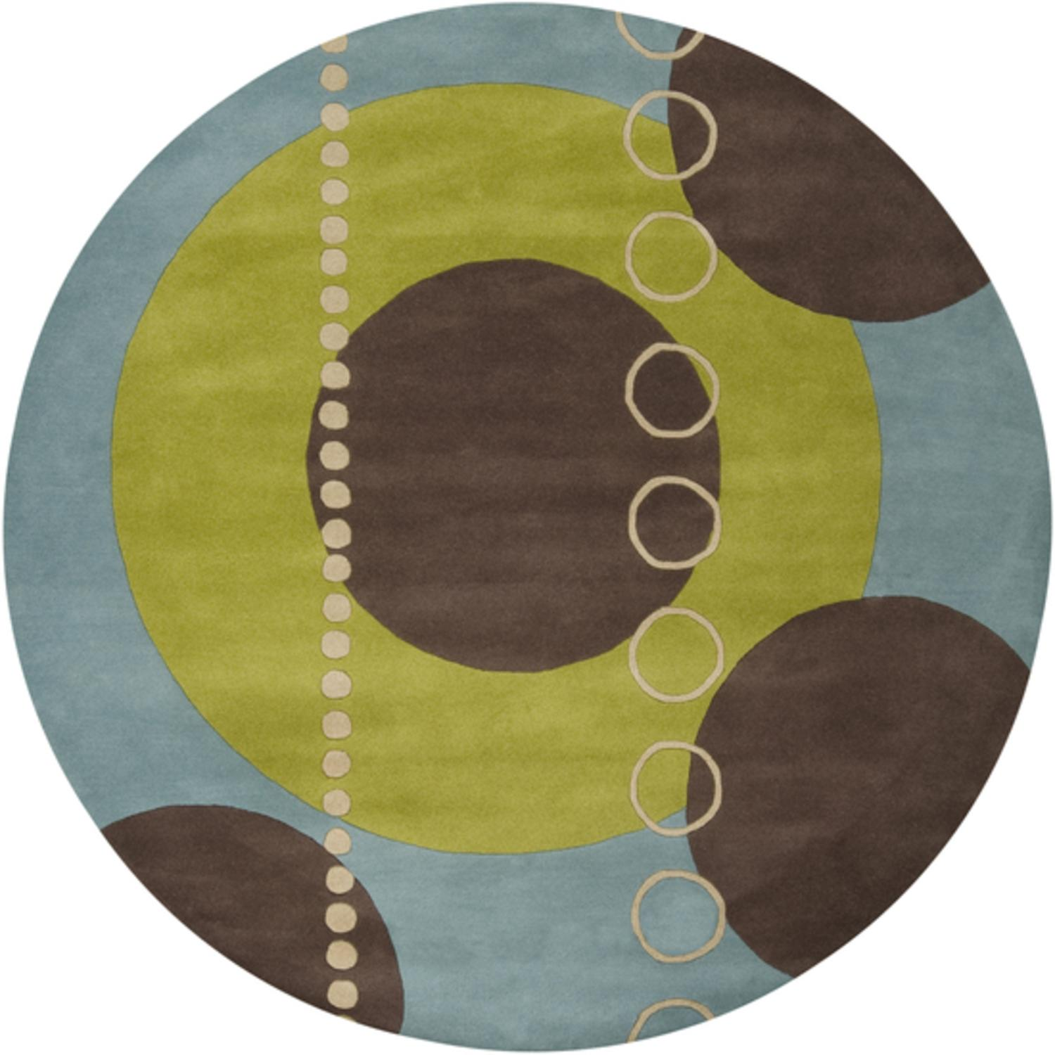 6' Round Eclectic Immersion Moss Green and Blue Wool Area Throw Rug