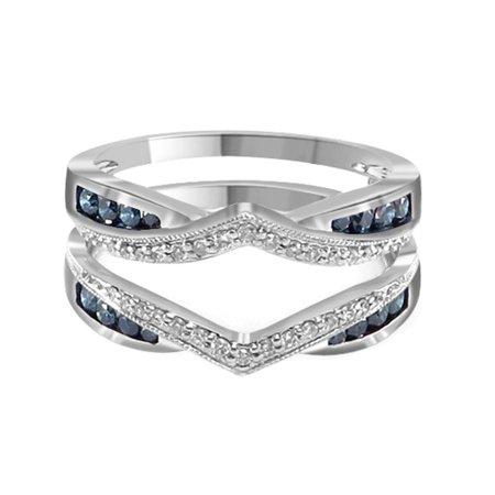 Blue & White Natural Diamond Wrap Guard Enhancer Engagement Ring in 14k White Gold (0.50