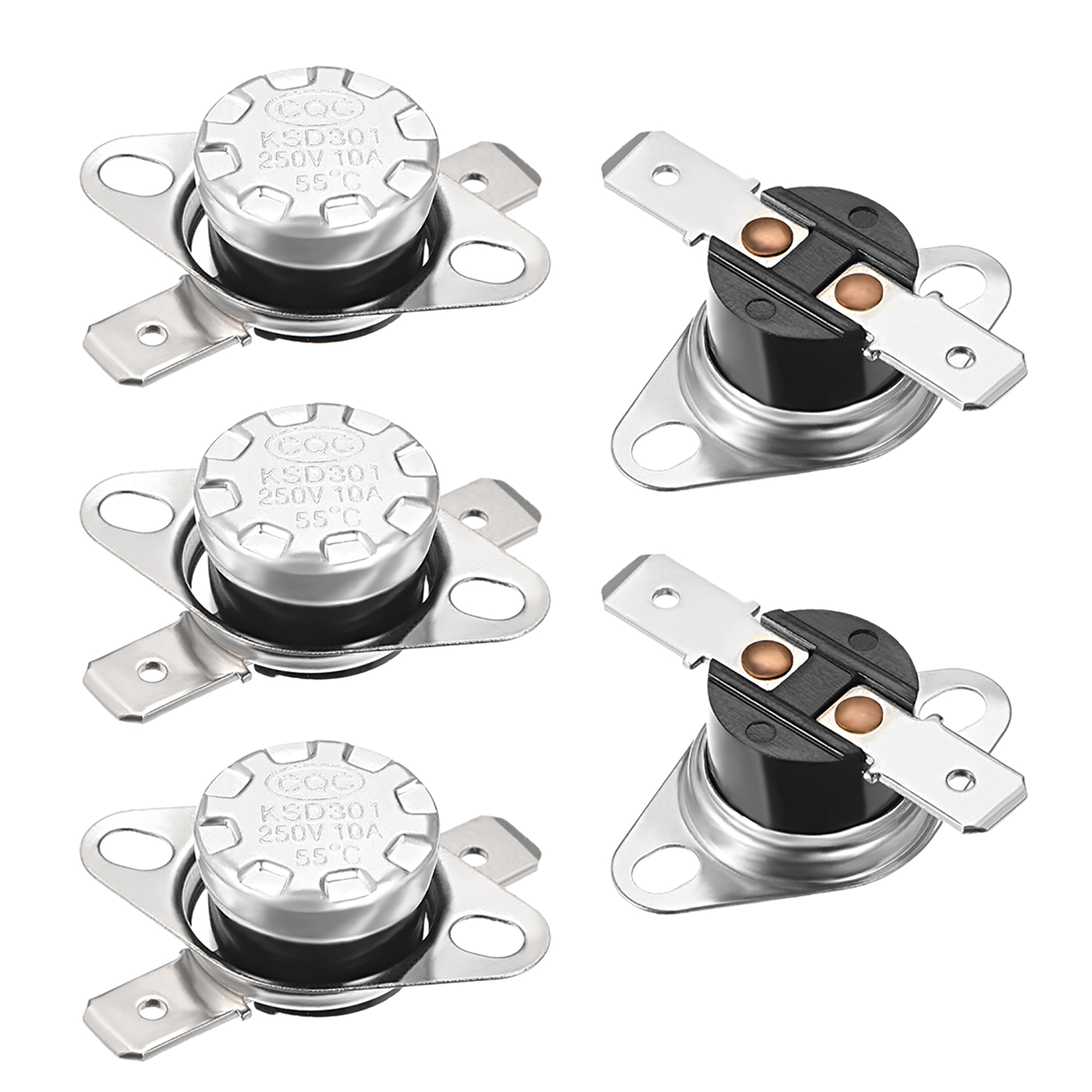 Temperature Control Switch, Thermostat 55°C 10A N.C 6.3mm Pin 5pcs