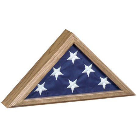Capitol Vintage Oak Flag Case Display, for 3'x5' Flag - Flag Frames