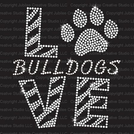 - Love Bulldogs Clear Iron On Rhinestone Transfer