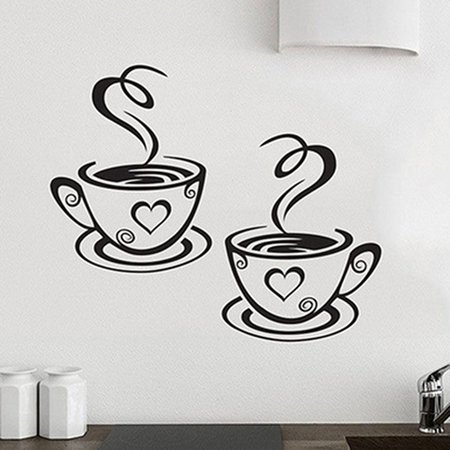 Girl12Queen Home Kitchen Restaurant Cafe Tea Wall Sticker Coffee Cups Sticker Wall Decor for $<!---->