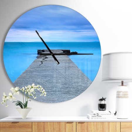 Broken Clock (DESIGN ART Designart 'Broken Concrete Jetty' Oversized Coastal Wall CLock )