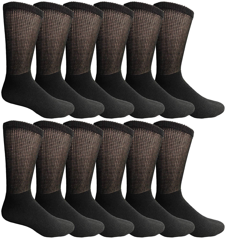 12 Pair King Size Mens Diabetic Crew Socks, Loose Fit Top Soft Cotton (Black, King 13-16)