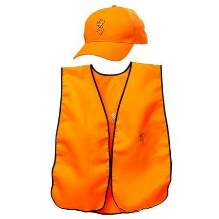 Browning 308680011 Mens Blaze Orange Hunting Safety Cap/Vest Combo thumbnail