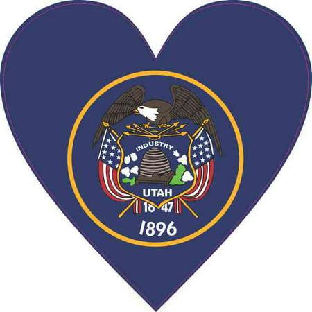 4X4 Utah Flag Heart Sticker Vehicle State Decal Cup Tumbler Car Bumper Stickers