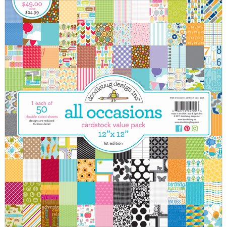"Doodlebug Value Kit Cardstock 12""X12"" 50/Pkg All Occasions"