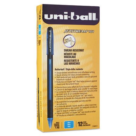 uni-ball Jetstream 101 Roller Ball Stick Water-Resistant Pen, Blue Ink, Medium, Dozen (Blue Roller Pen)