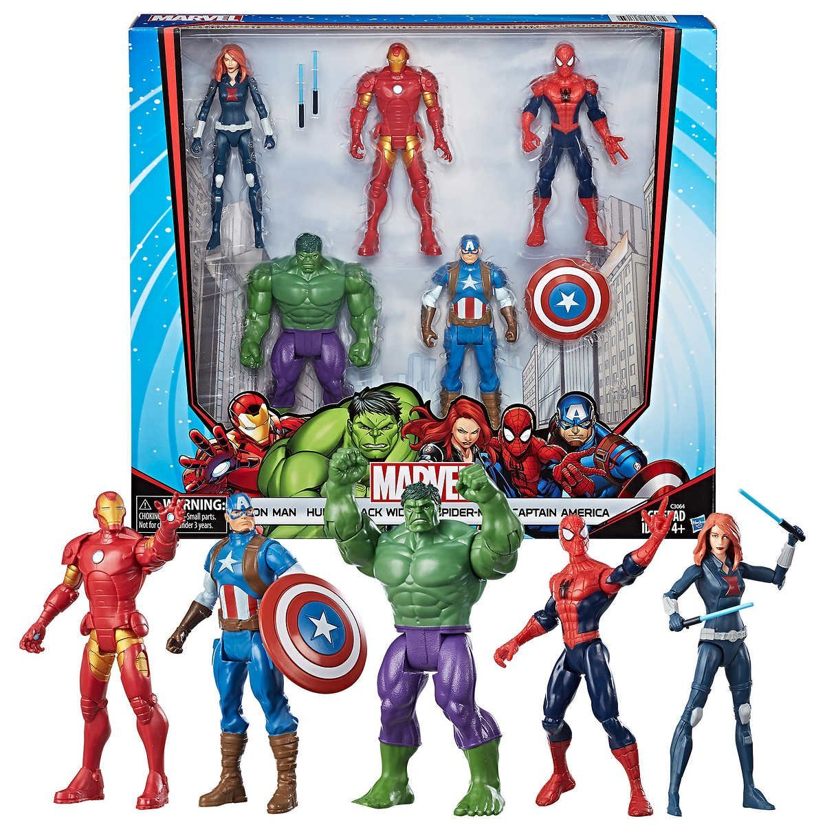 """ALL NEW!!! Marvel Core Characters Action Figures 5-Pack includes Black Widow, Iron Man, Spider-Man, Captain America, and Hulk, 6"""" Figures, Assemble.., By Hasbro"""