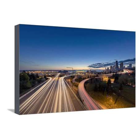 City Skyline and Interstate 90 and 5 from Jose Rizal Bridge in Downtown Seattle, Washington State Stretched Canvas Print Wall Art By Chuck (Distance From San Jose To Seattle Washington)