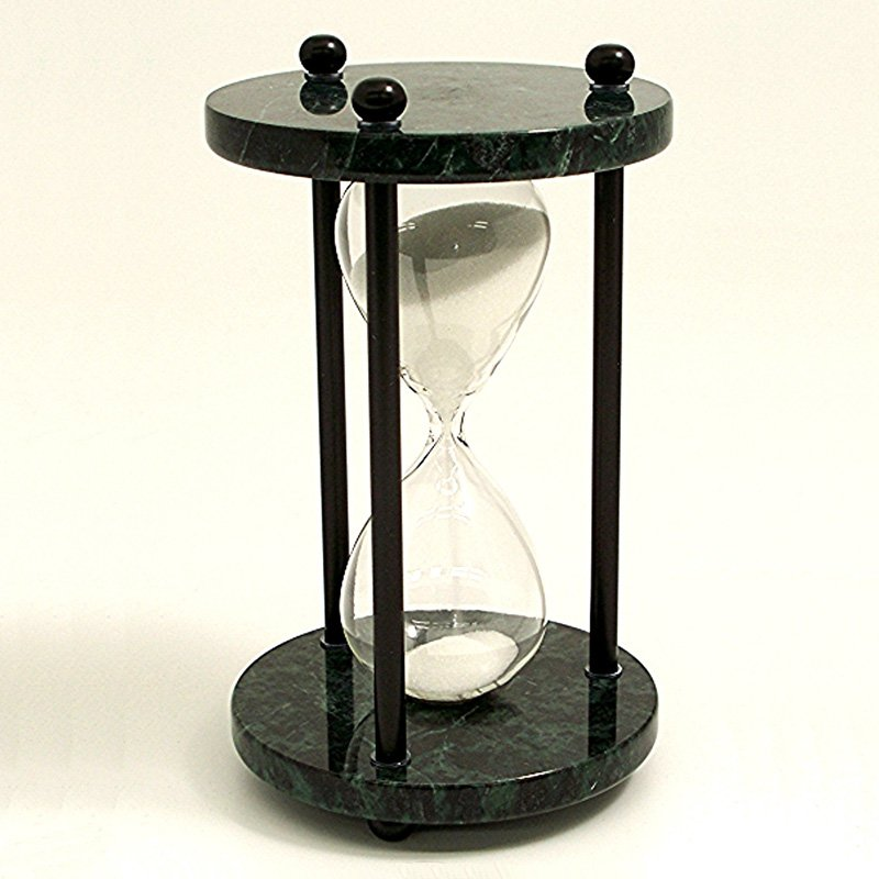 Green Marble 4 Minute Sand Timer- White Sand & Black Posts