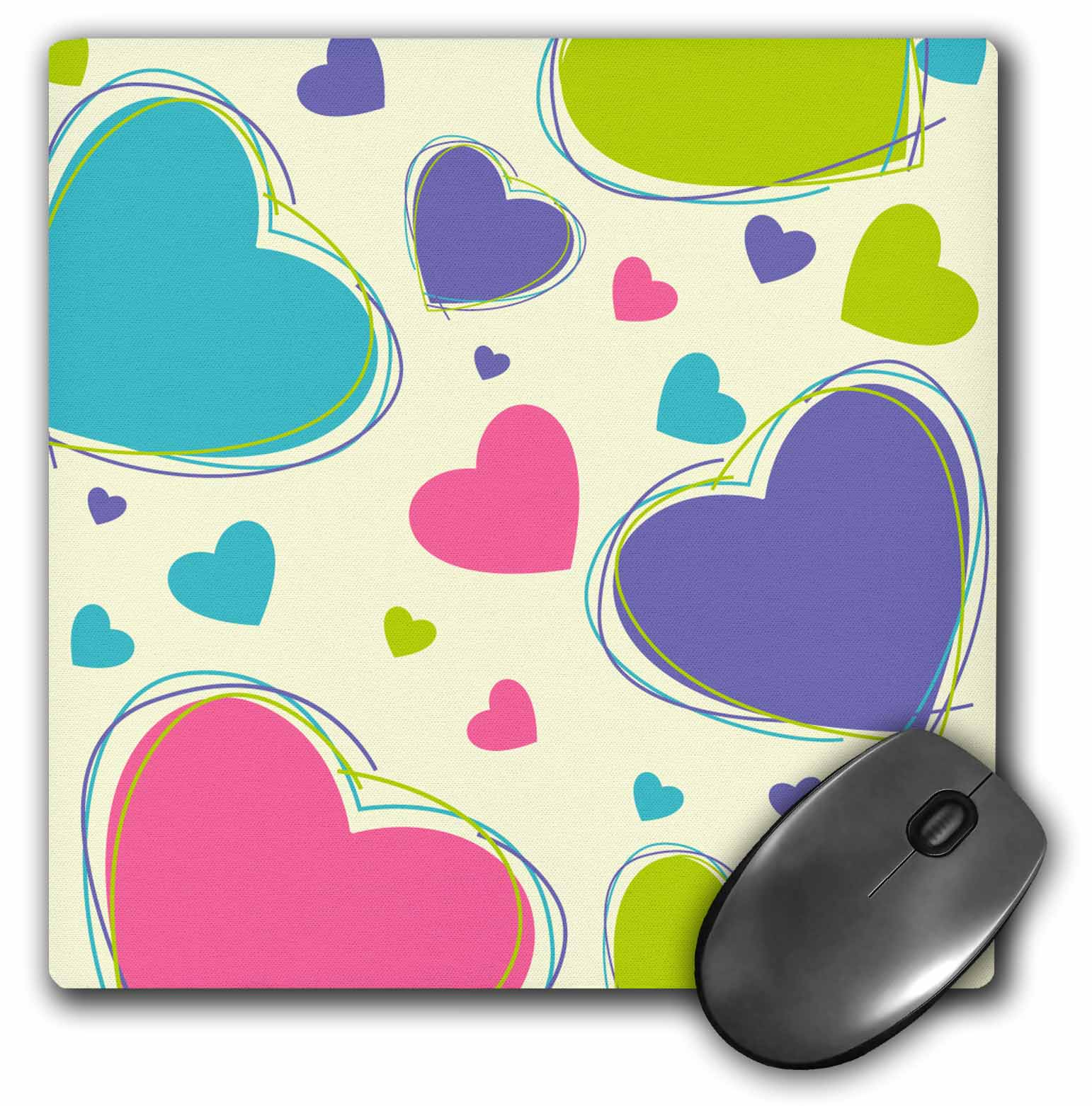 3dRose Purple, Turquoise, Pink Large and Small Scattered Hearts, Mouse Pad, 8 by 8 inches