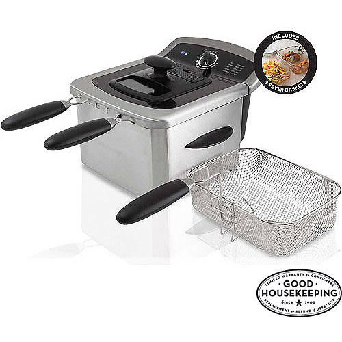 FARBERWARE 4L Dual Deep Fryer, Stainless Steel