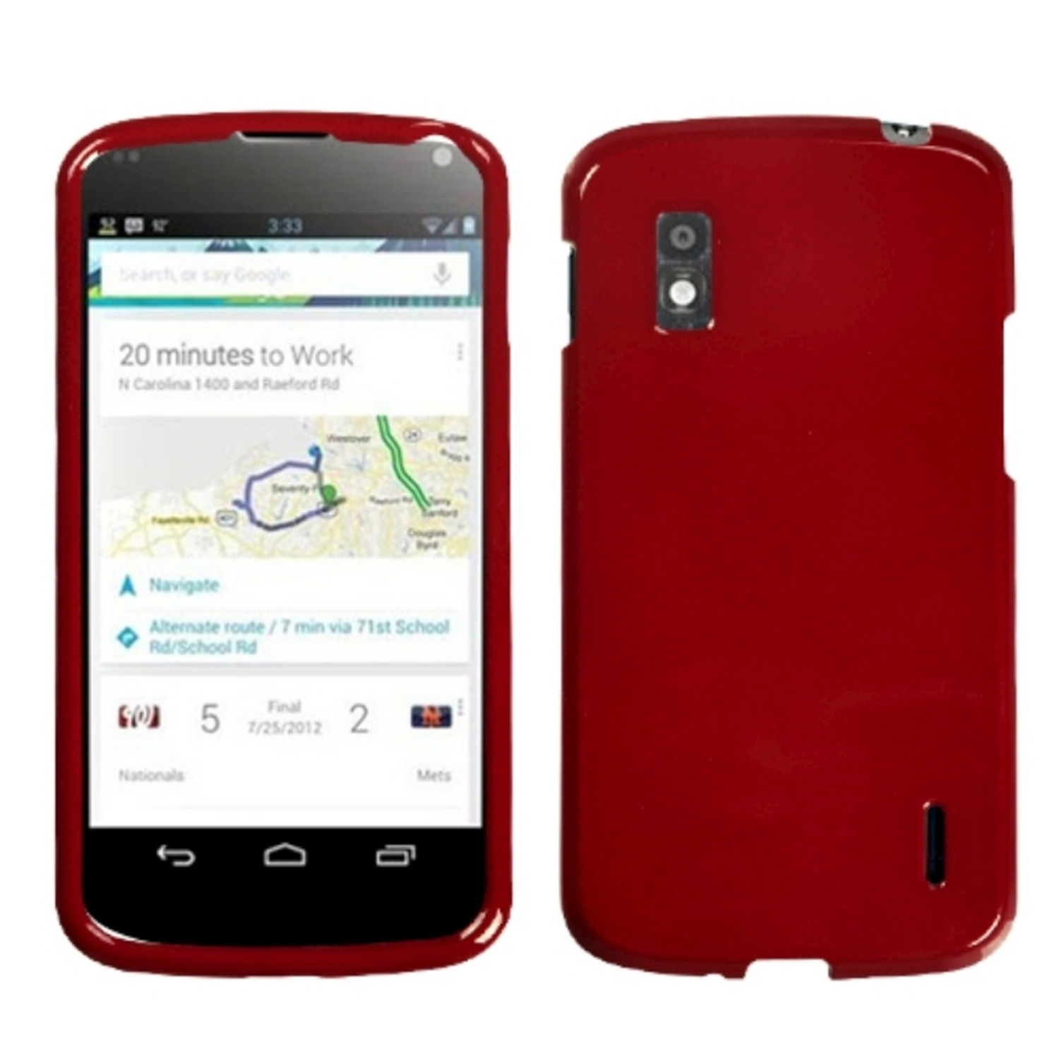 Insten Solid Red Phone Case for LG: E960 (Nexus 4)