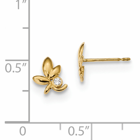 14k Yellow Gold Kids Cubic Zirconia Cz Leaf Post Stud Earrings Ball Button Flower Gardening Fine Jewelry Gifts For Women For Her - image 1 of 2