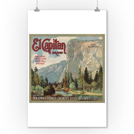 El Captain Wall (El Captain Brand - San Dimas, California - Citrus Crate Label (9x12 Art Print, Wall Decor Travel Poster))