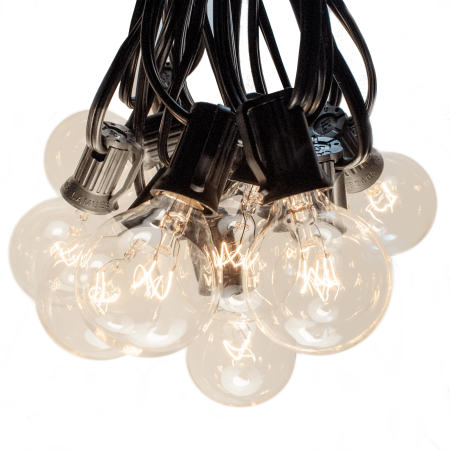 50 Foot Globe String Lights G40 Clear Bulbs Black Wire