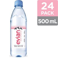 evian Natural Spring Water Bottles, Naturally Filtered Spring Water, 500 ML bottle, 24 Count