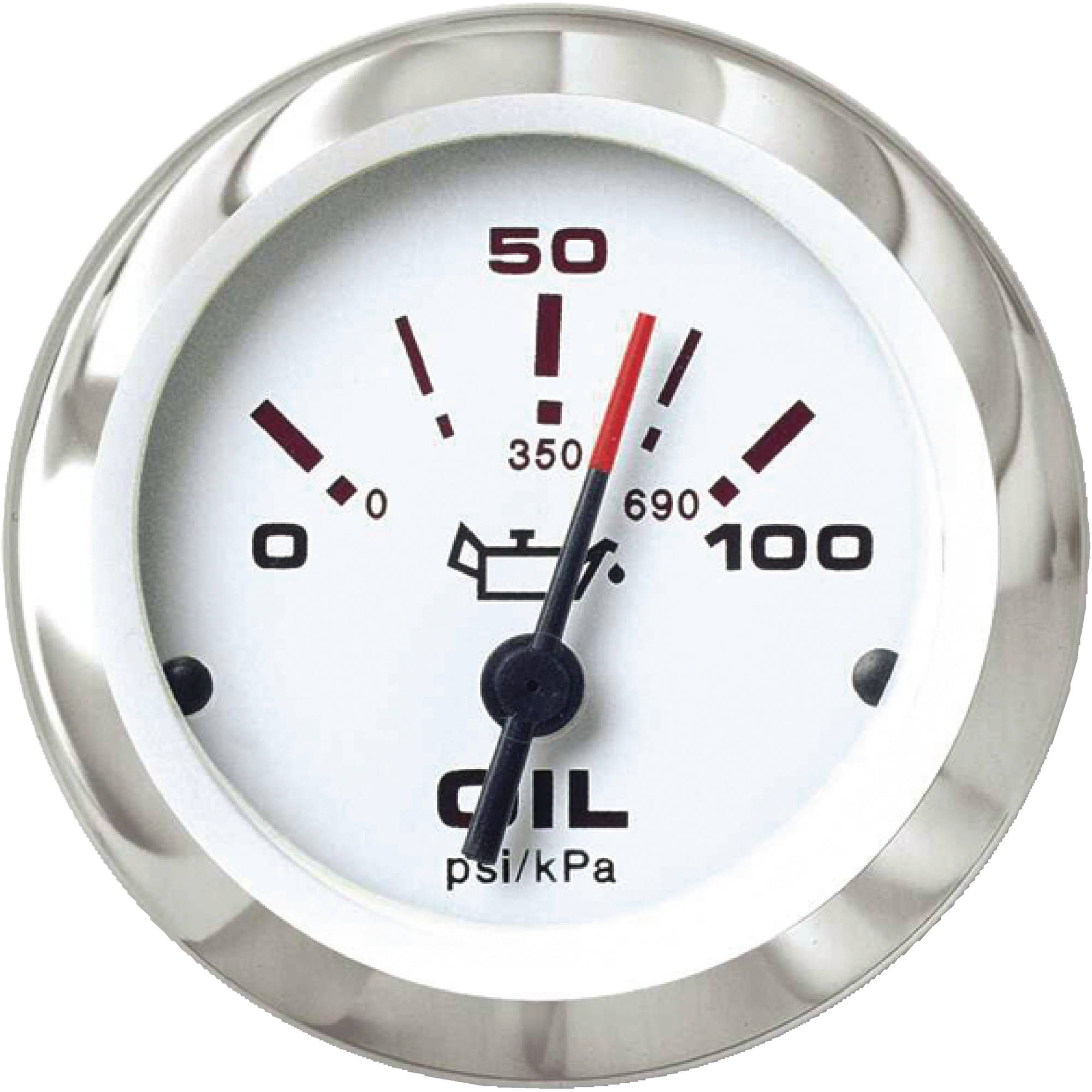 "Sierra 65498P Lido Series 2"" White and Stainless Steel 0-100 PSI Dial Range Oil Pressure Gauge with IA15016-Single/IA15023 Dual Station Sender Code"