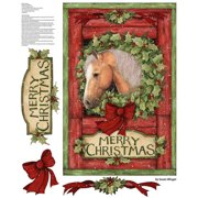 "Welcome Wreath Panel, Red, 43/44"" Width, Fabric by the Yard"