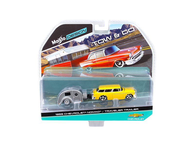 1955 Chevrolet Nomad with Traveler Trailer Yellow Tow & Go 1 64 Diecast Model by Maisto by Diecast Dropshipper