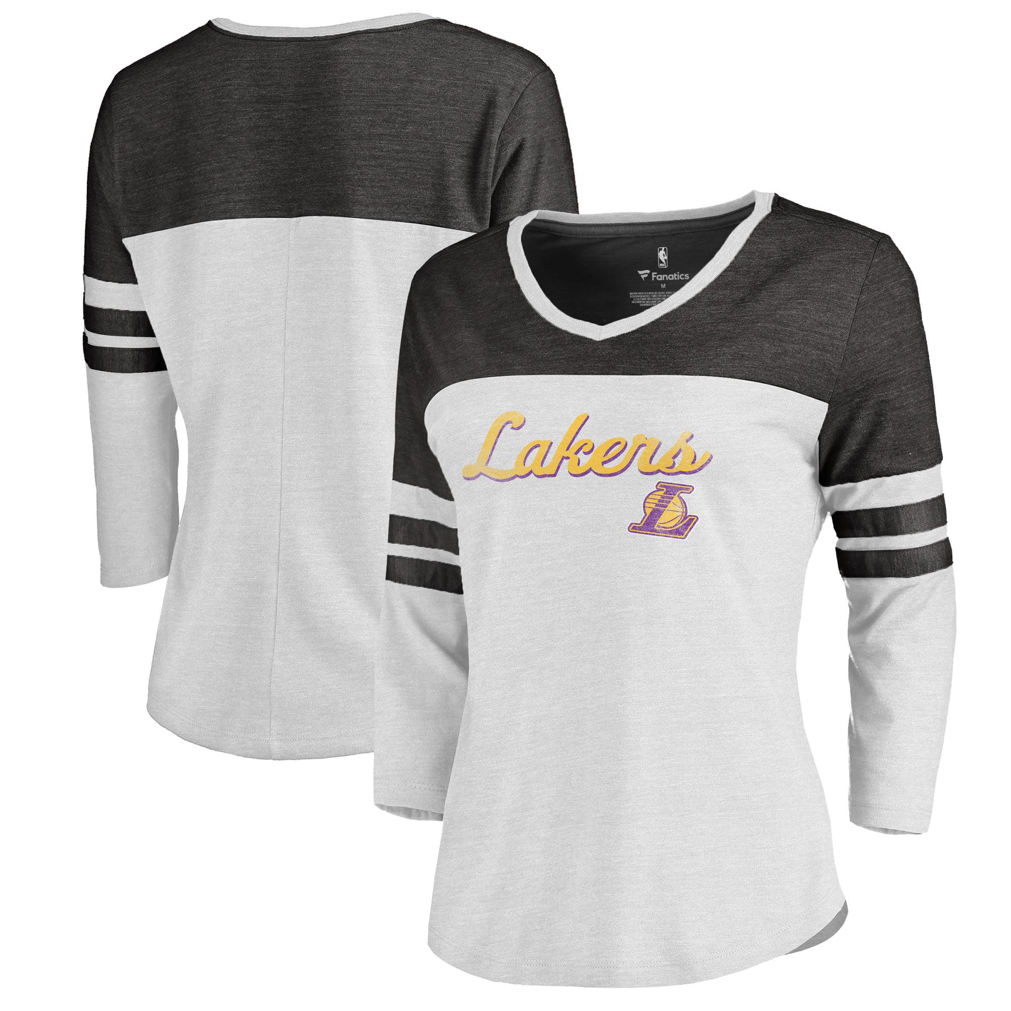 Los Angeles Lakers Fanatics Branded Women's Rising Script Plus Size Color Block 3/4 Sleeve Tri-Blend T-Shirt - White