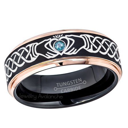 Claddagh Tungsten Ring - 2-Tone Rose Gold And Black Tungsten Carbide Wedding Band - 0.07ct Blue Diamond Tungsten Ring - Personalized Tungsten Wedding Ring - Custom Made Birthstone Ring - 2 Tone Diamond Wedding Band