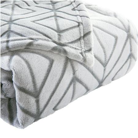Better Homes & Gardens Velvet Plush Textured Silver Blanket, Full/Queen