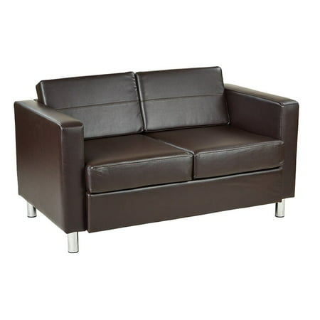 Pacific Easy-Care Faux Leather Loveseat with Box Spring Seats and Sivler Color Legs