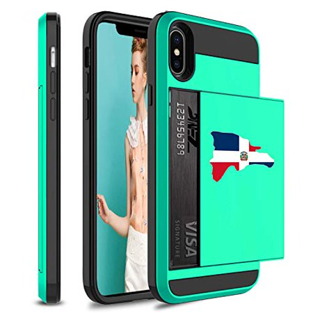 Wallet Credit Card ID Holder Shockproof Protective Hard Case Cover for Apple iPhone Dominican Republic Dominican Flag (Seafoam-Green, for Apple iPhone (Banana Republic Credit Card Customer Service Phone)