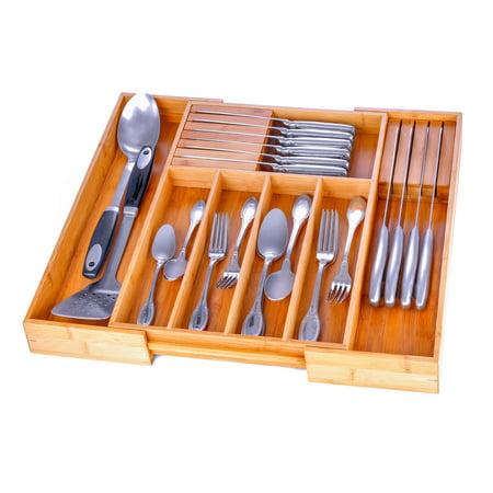Bambusi Kitchen Storage Organizer 13 - 21 Inches Wide, 2 Inches Deep, 7 Compartments for Flatware, Knife Sets, Utensils Cutlery Cabinet Storage Organizer By: Bambüsi ()