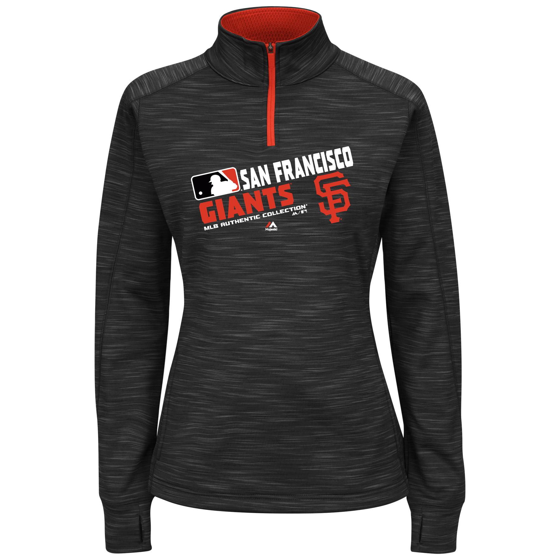 San Francisco Giants Majestic Women's Plus Size Authentic Collection Team Choice Quarter-Zip Sweatshirt - Black