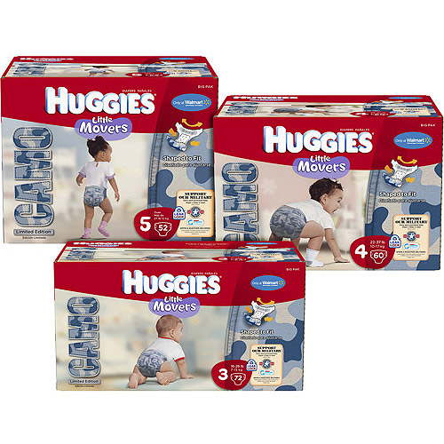 HUGGIES - Little Movers Camo Diapers (choose your size)