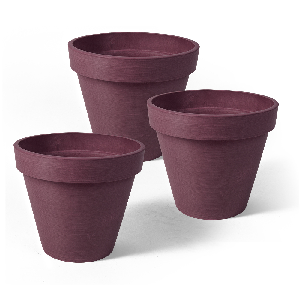 Algreen Valencia Planter, Round Banded Planter, 4.25-In. Diameter by 4-In.H, Spun Black, 3 pack