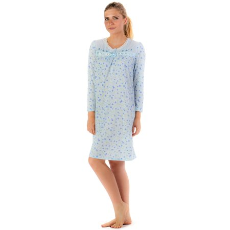 Casual Nights Women's Long Sleeve Floral Embroidered Night Gown