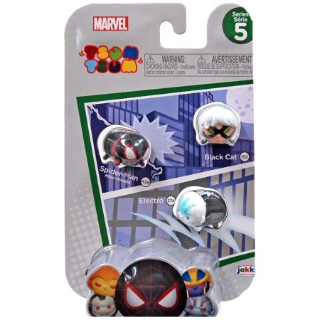 Marvel Tsum Tsum Series 5 Black Cat, Spider-Man & Electro Minifigure 3-Pack