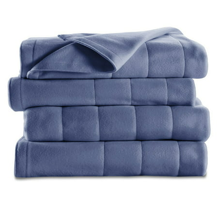 Sunbeam Electric Heated Fleece Blanket, Full, Newport Blue