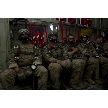 7Th Special Forces Group Green Berets Wait Onboard A C 130  To Conduct Halo Jumps Canvas Art   Stocktrek Images  34 X 23