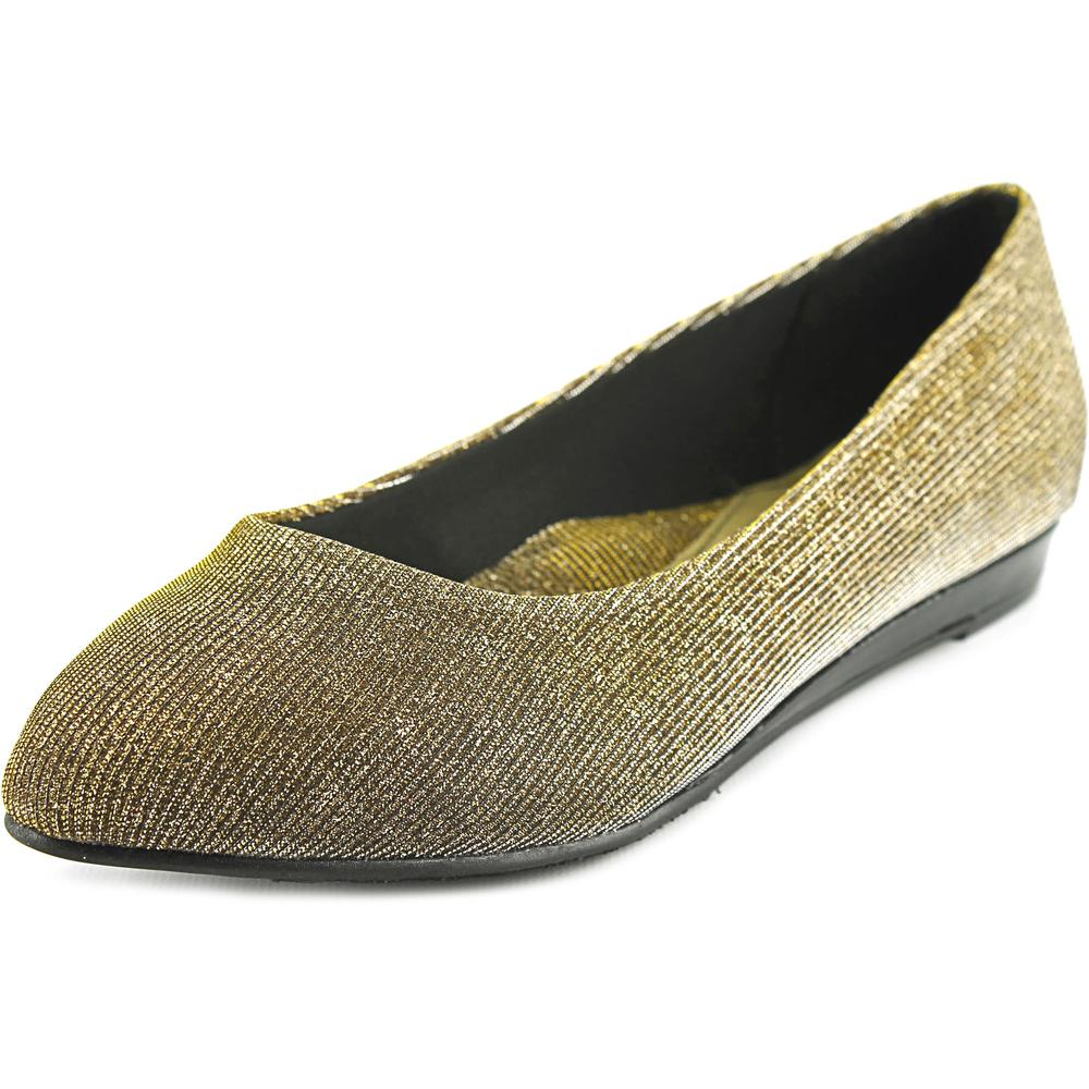 Soft Style by Hush Puppies Darlene Women  Pointed Toe Canvas Gold Flats