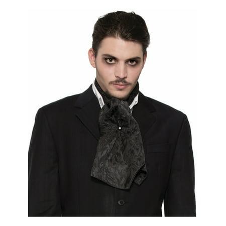 Ascot Tie - Adult's Mens Black Satin Ascot Scarf Necktie Costume Accessory