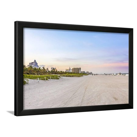 Sunset at South Beach with Colorful Clouds in Miami, Florida Framed Print Wall Art By Jorg Hackemann (Spirit Halloween Sunset Miami)