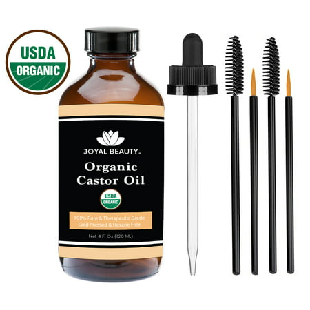 Castor Oil (4 OZ) USDA Organic 100% Pure Cold-Pressed Hexane-free for Hair Growth, Eyelashes, Eyebrows and Skin by Joyal