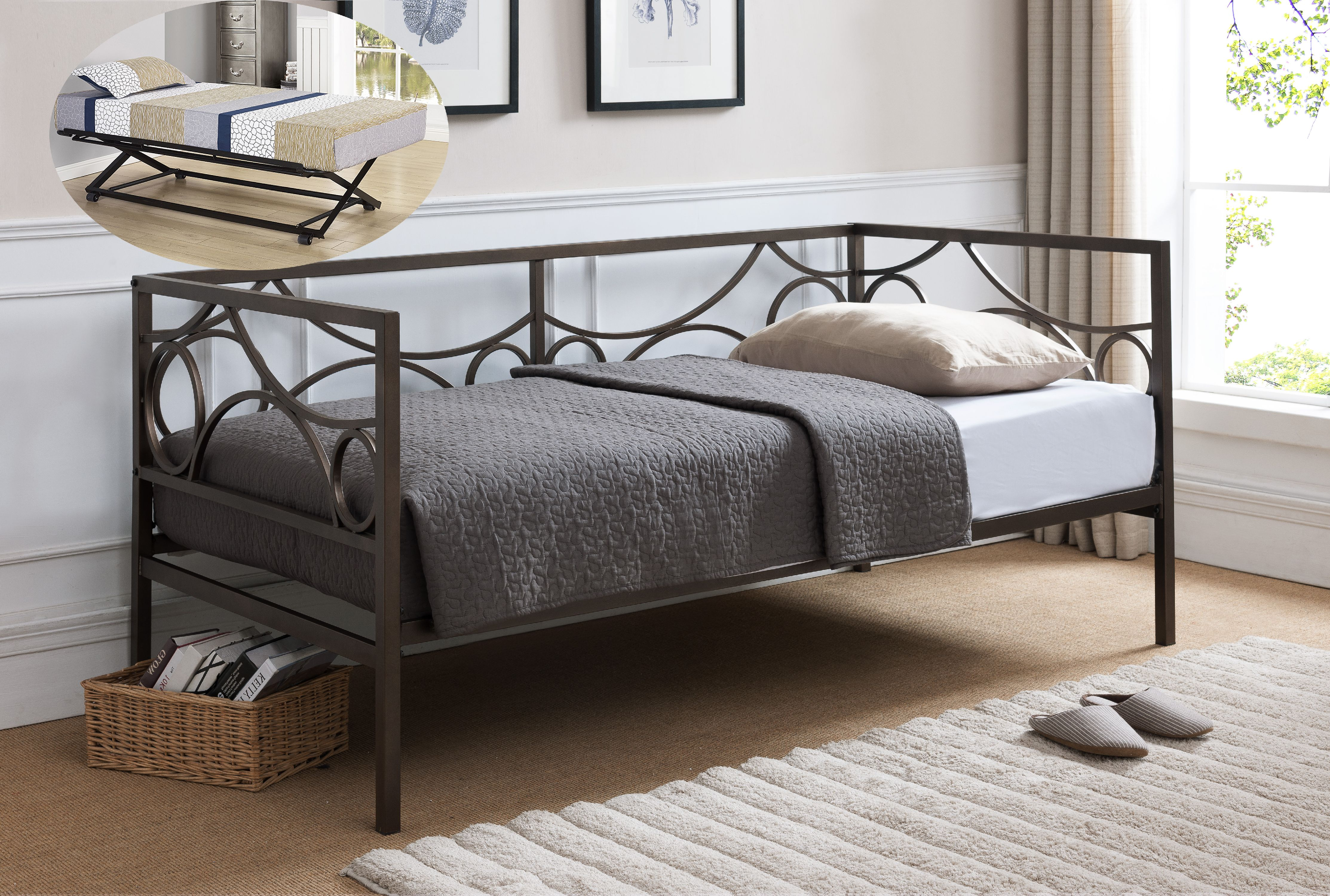 vegas dark pewter metal day bed frame with black popup trundle twin size